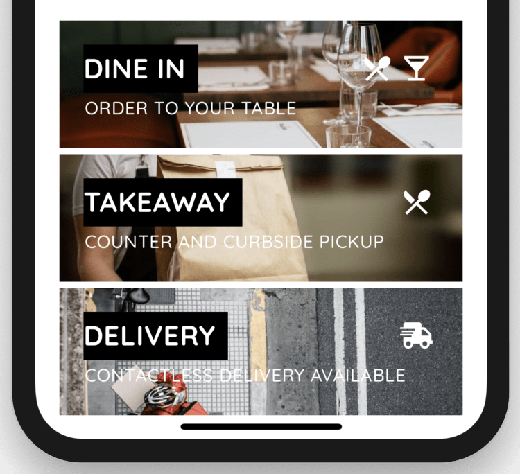 Contactless Dine In Curbside Takeaway Delivery