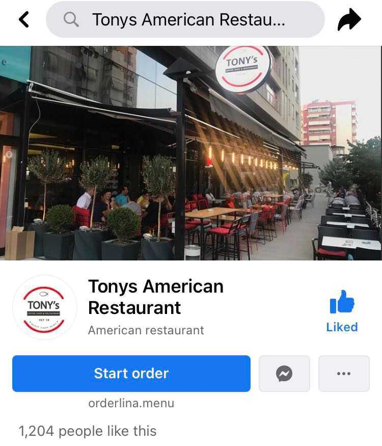 Tony's American Commission-Free Delivery Restaurant QR Menu Managed On Orderlina